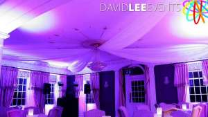 Eaves Hall Wedding uplighting